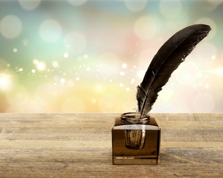 Quill pen with inkwell pen feather old poem quill agreement Stock Photo