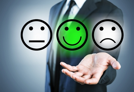 Employee face feedback satisfaction survey background best