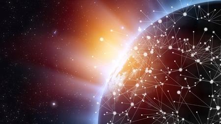 Red de telecomunicaciones asiática conectada a través de Asia, Japón, Corea, Hong Kong, concepto sobre tecnología de comunicación global de Internet para finanzas, blockchain o IoT, elementos de