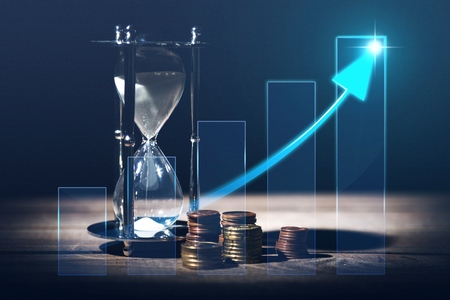 Sand Hourglass and financial illustration Stock Illustration - 124597723