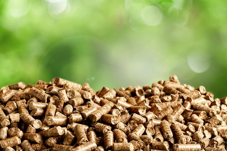 Pellets Biomass- close up on background