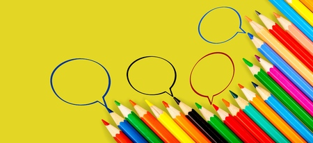 Community communication, represents people conference, social media interaction & engagement. group of pencils sharing idea on the yellow background with copy space