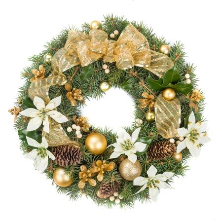 Christmas Wreath Isolated on White Stock Photo