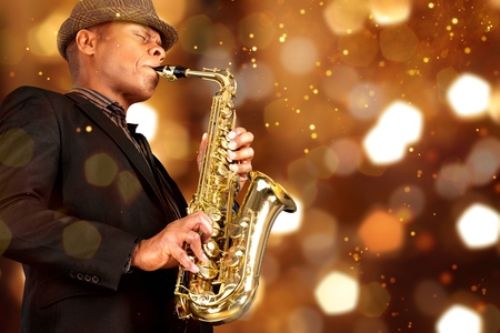 Black Saxophone Playing Banque d'images