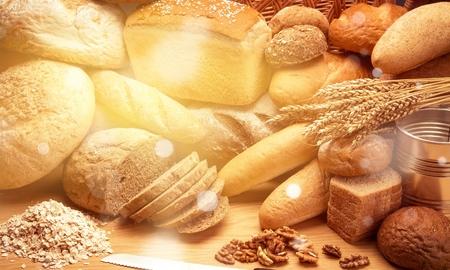 Fresh homemade bread loaves, close-up Foto de archivo