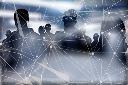 Business people work together in office with internet network effects. Concept of teamwork and partnership. double exposure Banque d'images