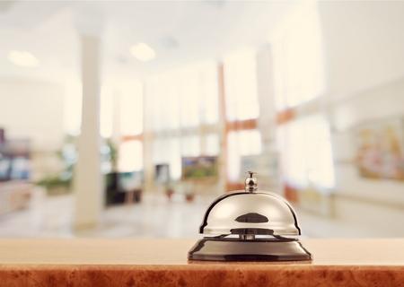 Reception service desk bell, close-up view