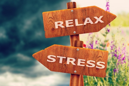 Relaxed x Stressed creative sign, different directions.