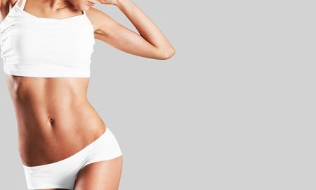 Corps de ventre de beauté esthétique de l'abdomen de la femme intime Banque d'images