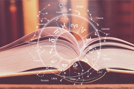 astrologie horoscoop magische boekillustratie