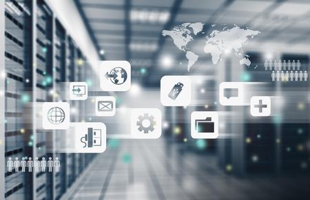 Resumen de la moderna sala de centro de datos de internet de alta tecnología