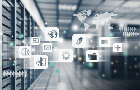 Streszczenie nowoczesnego, zaawansowanego technologicznie pokoju centrum danych internetowych