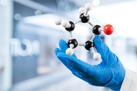 Close up of Molecular structure model in hand on background Stock fotó