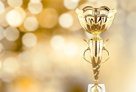 Golden trophies object on background Banco de Imagens