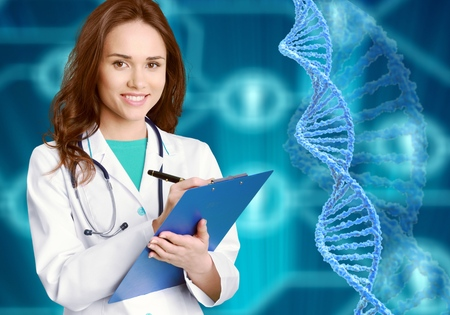 Molekularbiologie, Genetik und medizinisches Konzept. Eine asiatische Ärztin, Wissenschaftlerin oder Biologin arbeitet in einem futuristischen virtuellen Raum mit Augmented Reality und interagiert mit einer DNA-Sequenz.