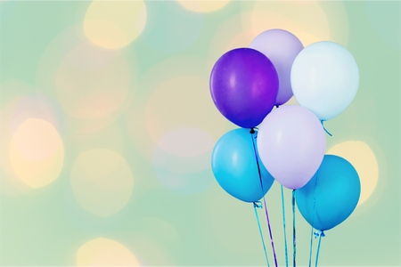 Bunch of colorful balloons on white background Stock Photo