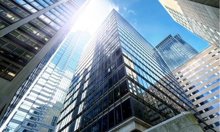 Modern office buildings in city Standard-Bild