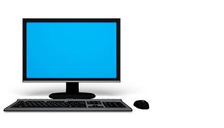 Desktop computer e tastiera e topo su bianco