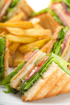 Club sandwich with salami and green Stock Photo