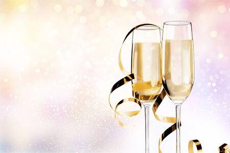 Champagne bubbles in glass