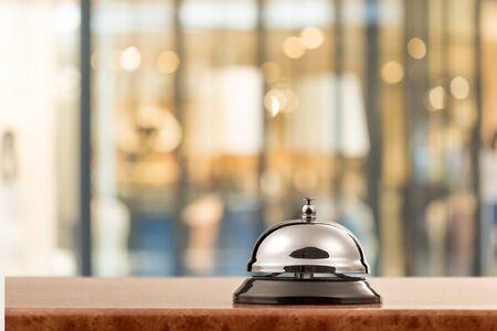 Vintage hotel reception service desk bell on Stock Photo