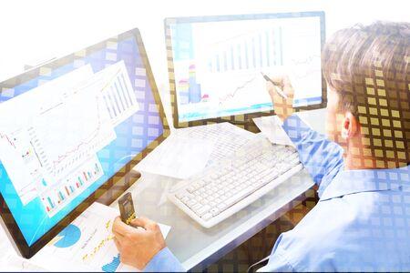 Analytics ads adwords chart sponsored adsense advertisement Stock Photo