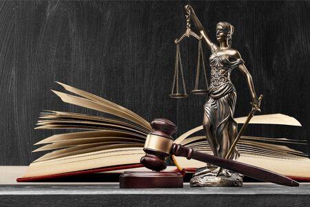 Open law book in library 免版税图像