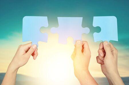 Teamwork idea brainstorming, team partnership connection for