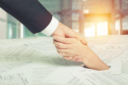 Financial Aid handshake concept