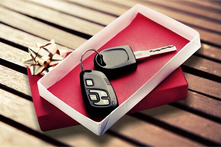 Modern Car keys as a gift on