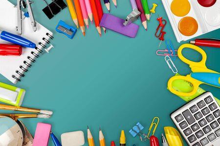 Assortment  of School supplies on background Banco de Imagens