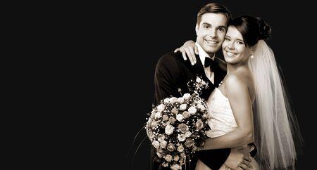 Bride and groom dancing on background Archivio Fotografico