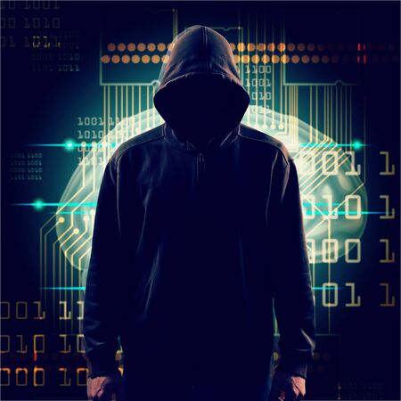 Cyber hacker in hoodie on icons background