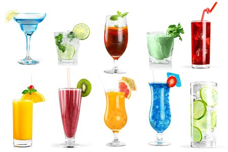 Set of classic alcohol cocktails isolated on white background