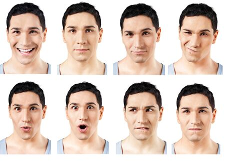 Set of Facial Expressions of handsome man isolated on white background Banco de Imagens
