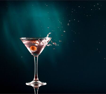 Martini cocktail on dark Background