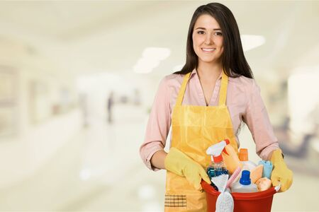 Beautiful Young Woman Housewife with cleaning products