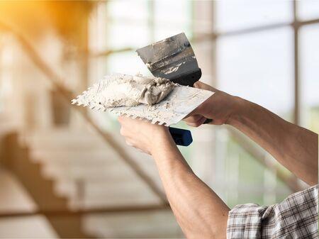 Bricklayer cement masonry build layer house worker 免版税图像 - 125050079