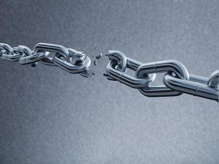 Metal chain broken break white background object Foto de archivo