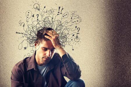 Adhd Stress Angst Erwachsener harter Mann Durcheinander Standard-Bild