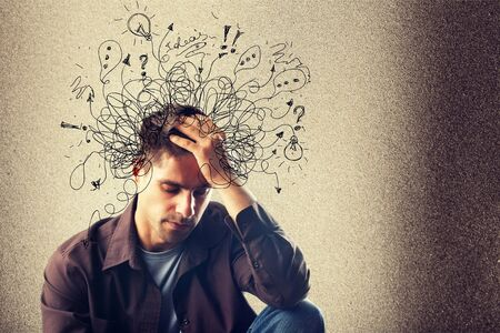 Adhd stress angst volwassen harde man puinhoop Stockfoto