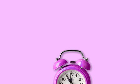 Ringing twin bell vintage classic alarm clock Isolated on blue pastel colorful trendy background. Rest hours time of life good morning night wake up awake concept. Flat lay top view copy space          - Image Stock Photo - 125222902