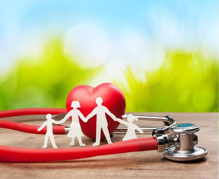 Medical Stethoscope with Heart isolated on  background Stock Photo