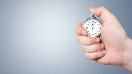 Close-up Stopwatch in Human Hand, Timer Фото со стока