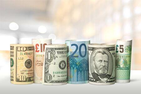 US Dollars and Euro Money on background