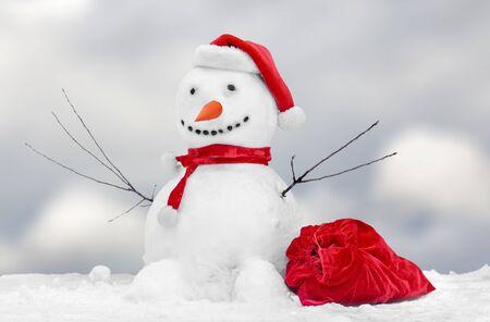 Cute little snowman outdoor Stock fotó