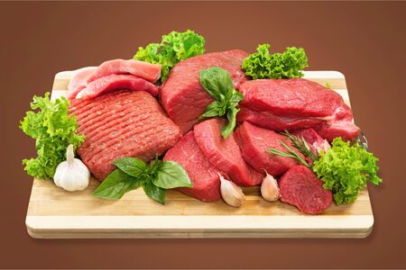 Fresh Raw Meat Background on  background Foto de archivo