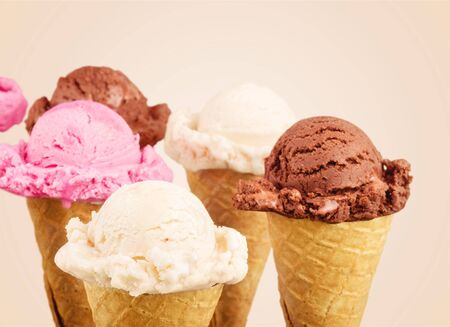 Ice cream scoops with vanilla, chocolate and