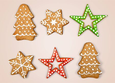 Christmas Ginger and Honey cookies on isolated white background. Star, fir tree, snowflake shape