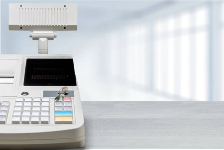 Cash register with LCD display on background Banque d'images - 124931923